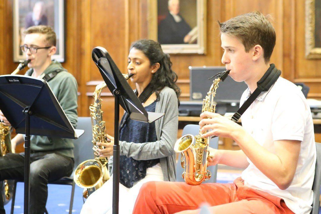 saxophone students at the Ingenium Academy summer music programme in Winchester, UK