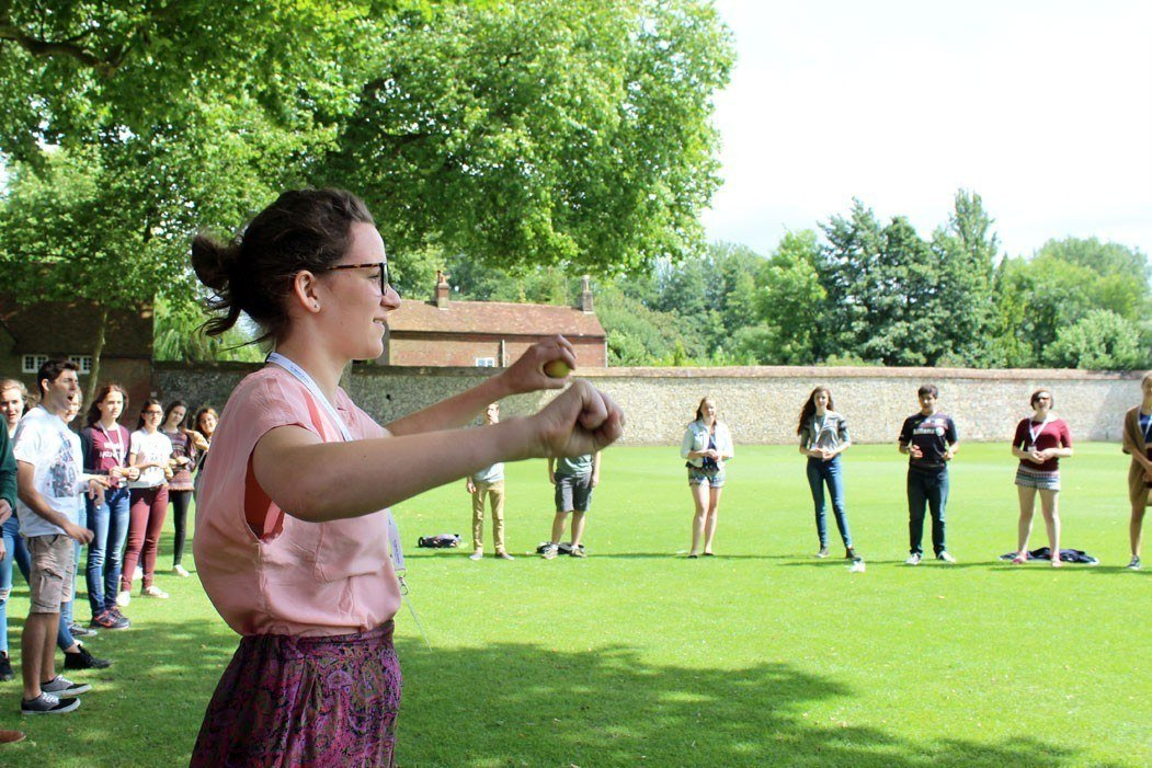 Outdoors conducting workshop with Tim Redmond at the Ingenium Academy in Winchester College