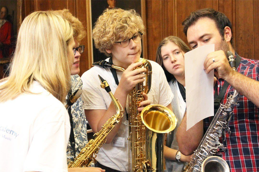 Saxophone students with Dom Childs