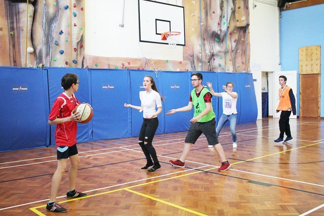 Evening activities - basketball in Winchester College sports hall