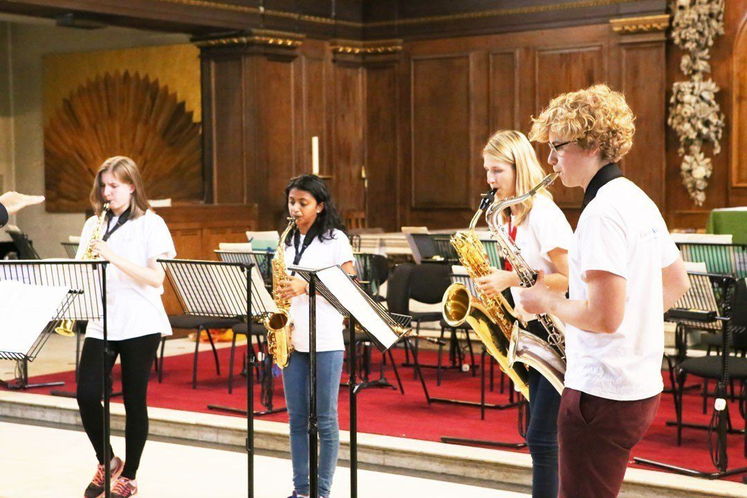 Saxophone students rehearsing for a concert