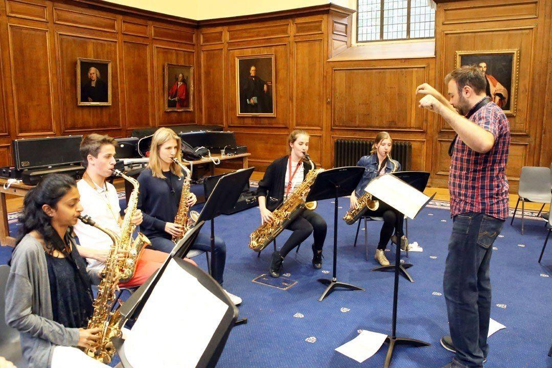 Saxophone ensemble sextet rehearsal