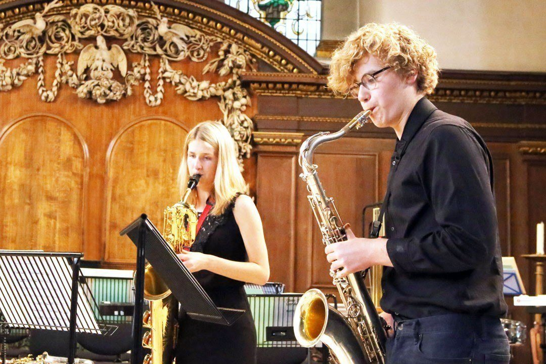 Students in performance at the Ingenium Academy Saxophone summer course