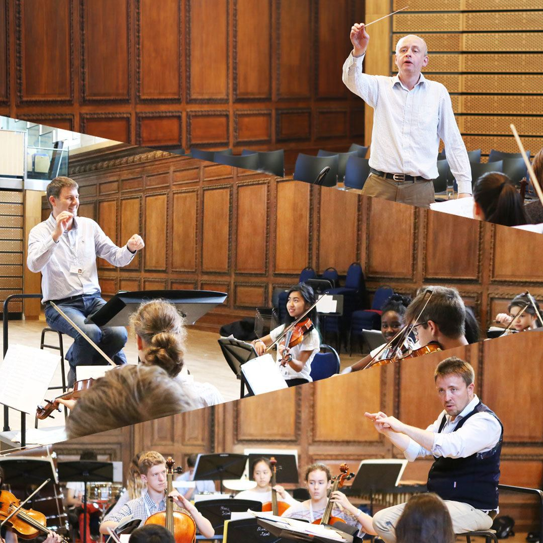Conductors Matthew Taylor, Timothy Redmond and Tom Hammond at the Ingenium Academy summer orchestra camp