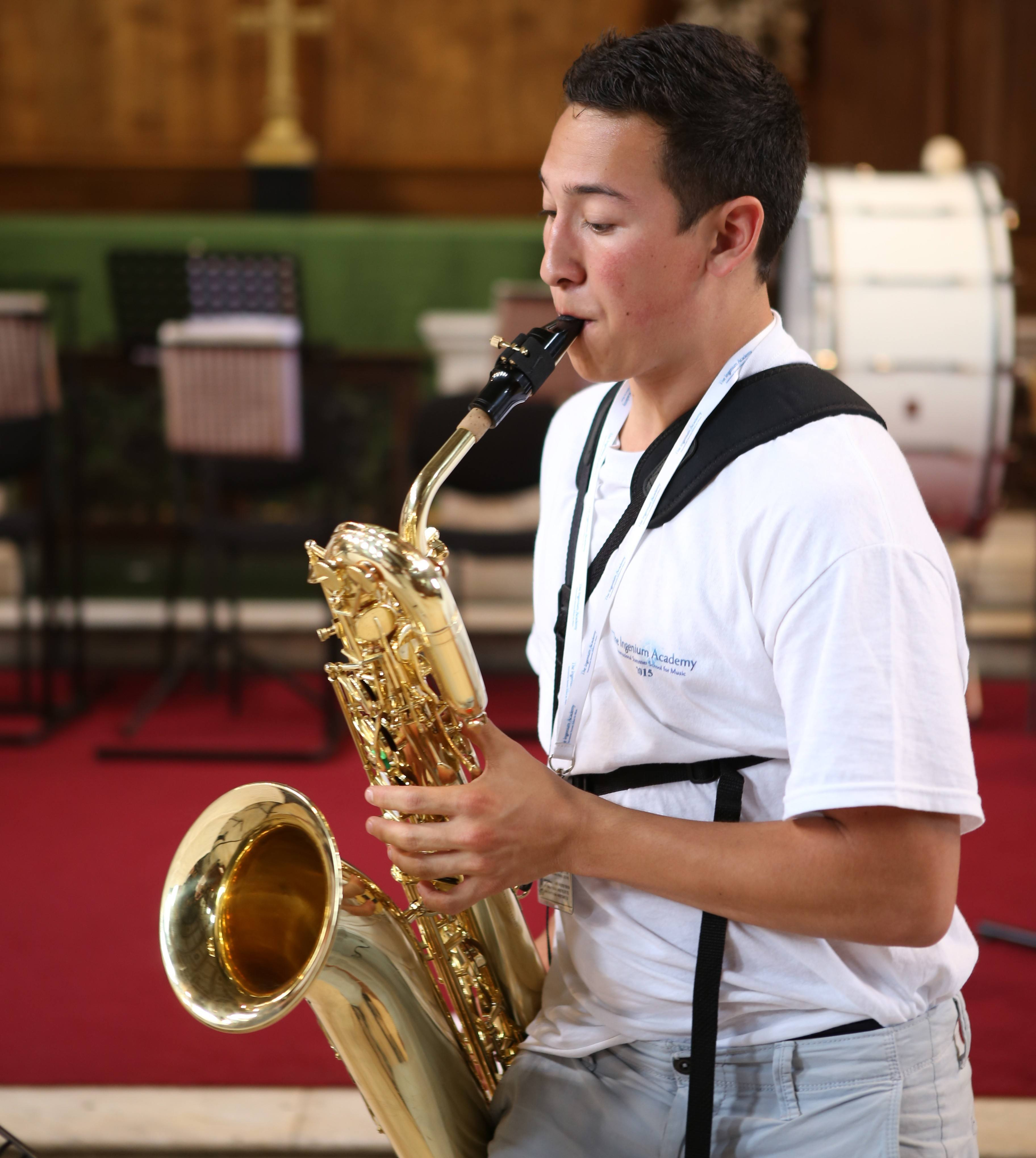 Baritone Saxophone student rehearsing with the Ingenium Academy Saxophone Quartet in London