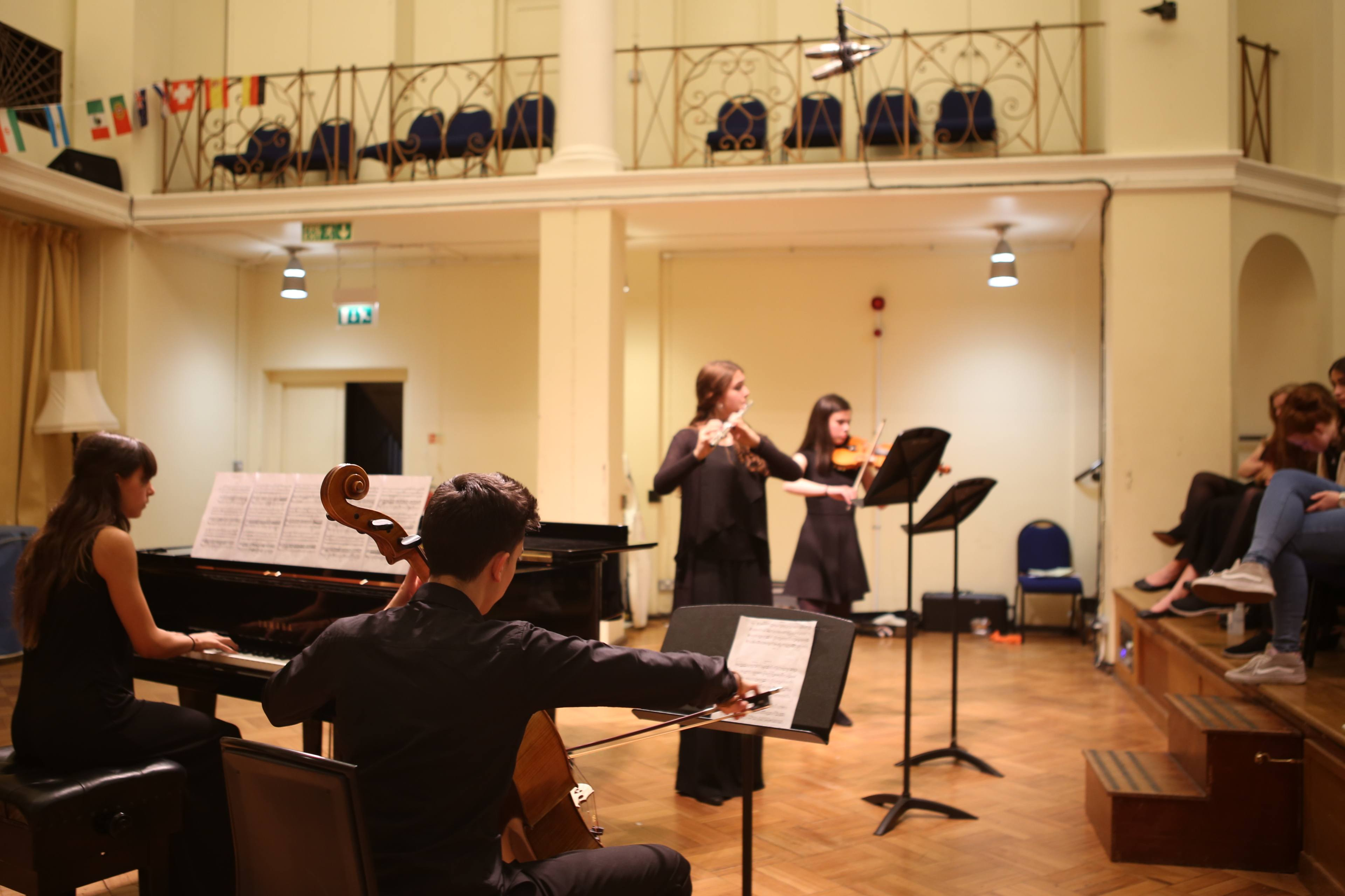 Chamber group performance at chamber music programme in England, UK