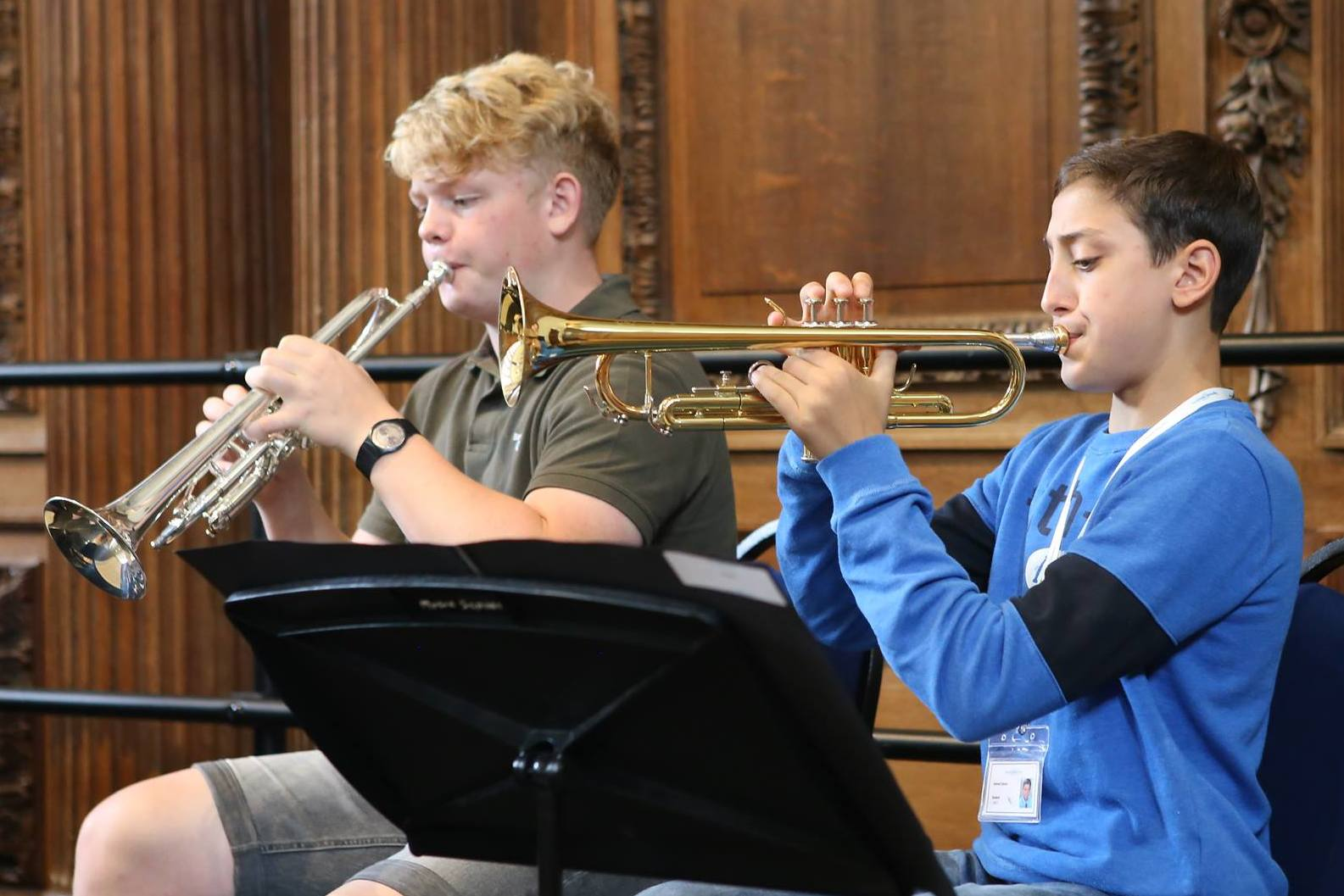 Young Trumpet players in orchestra at the summer school