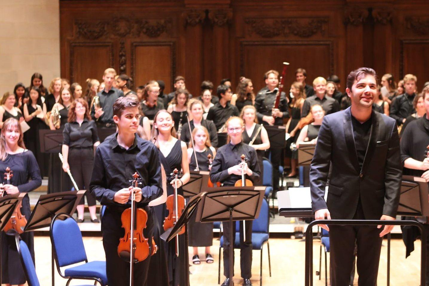 Director Dionysis Grammenos with the Ingenium Academy symphony orchestra and chorus
