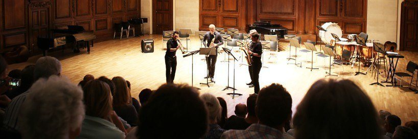 The Ingenium Academy Saxophone Quartet performing at Winchester College in August 2015