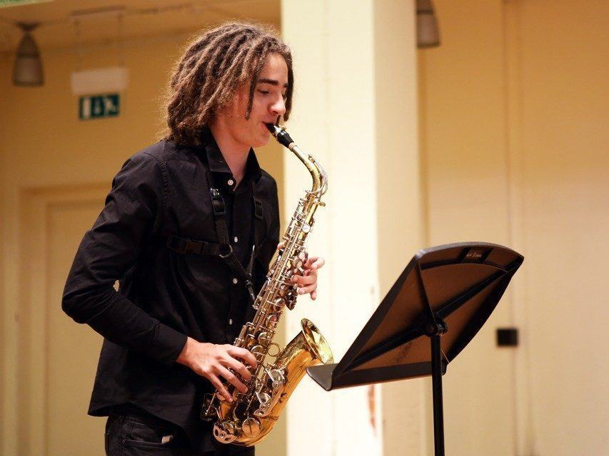 Ingenium Saxophone student at our internal performance platform
