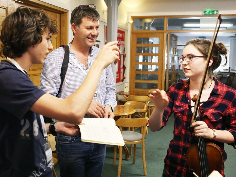 Tim Redmond with students on the Ingenium Academy summer conducting course