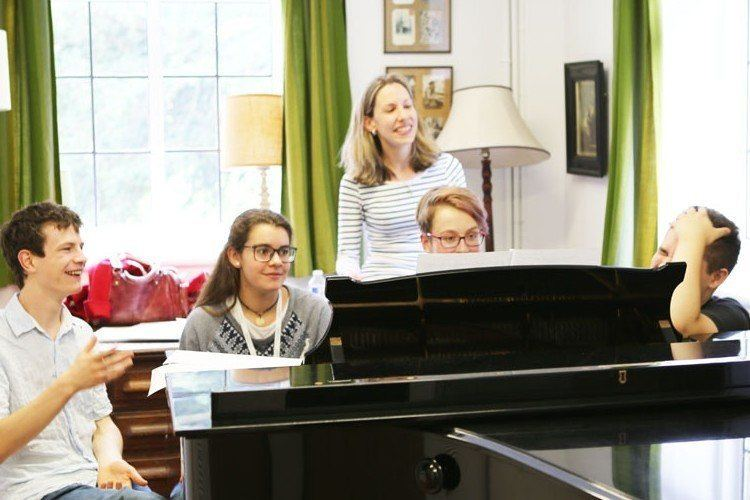 Students on the Ingenium Academy piano course in England, with Heather Tomala