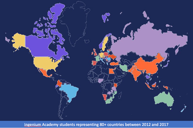 Make friends from other countries: map of Ingenium Academy student nationalities
