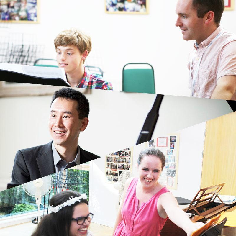 Piano tutors Simon Callaghan, Hiro Takenouchi and Clíodna Shanahan at the Ingenium Academy summer piano camp