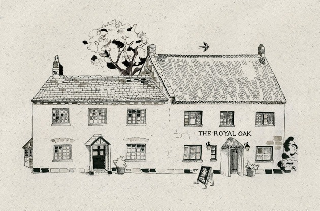 The Royal Oak - our original drawing by Jane Maschler