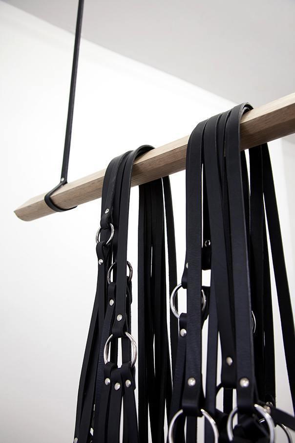 Simona Brinkmann. Rig - detail (2014). Leather, oak, metal fittings.