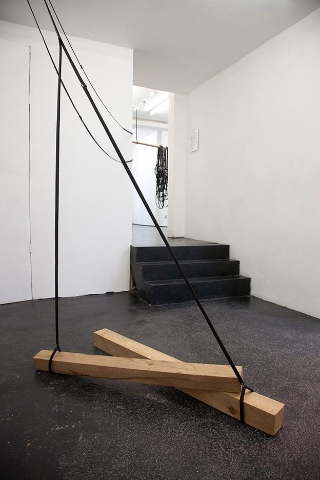 Simona Brinkmann. Underling - detail (2014). Leather, oak, metal fittings.