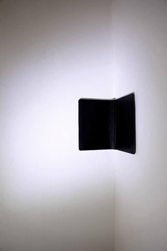 Simona Brinkmann. Upstage/Backstage (2013). Strobe spotlight, leather, notebook.