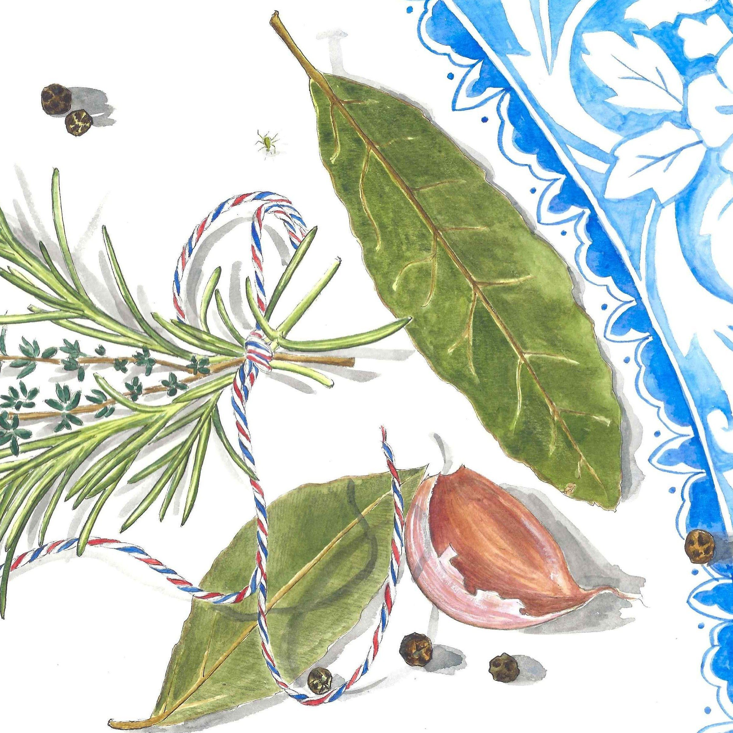 bouquet garni watercolour painting illustration