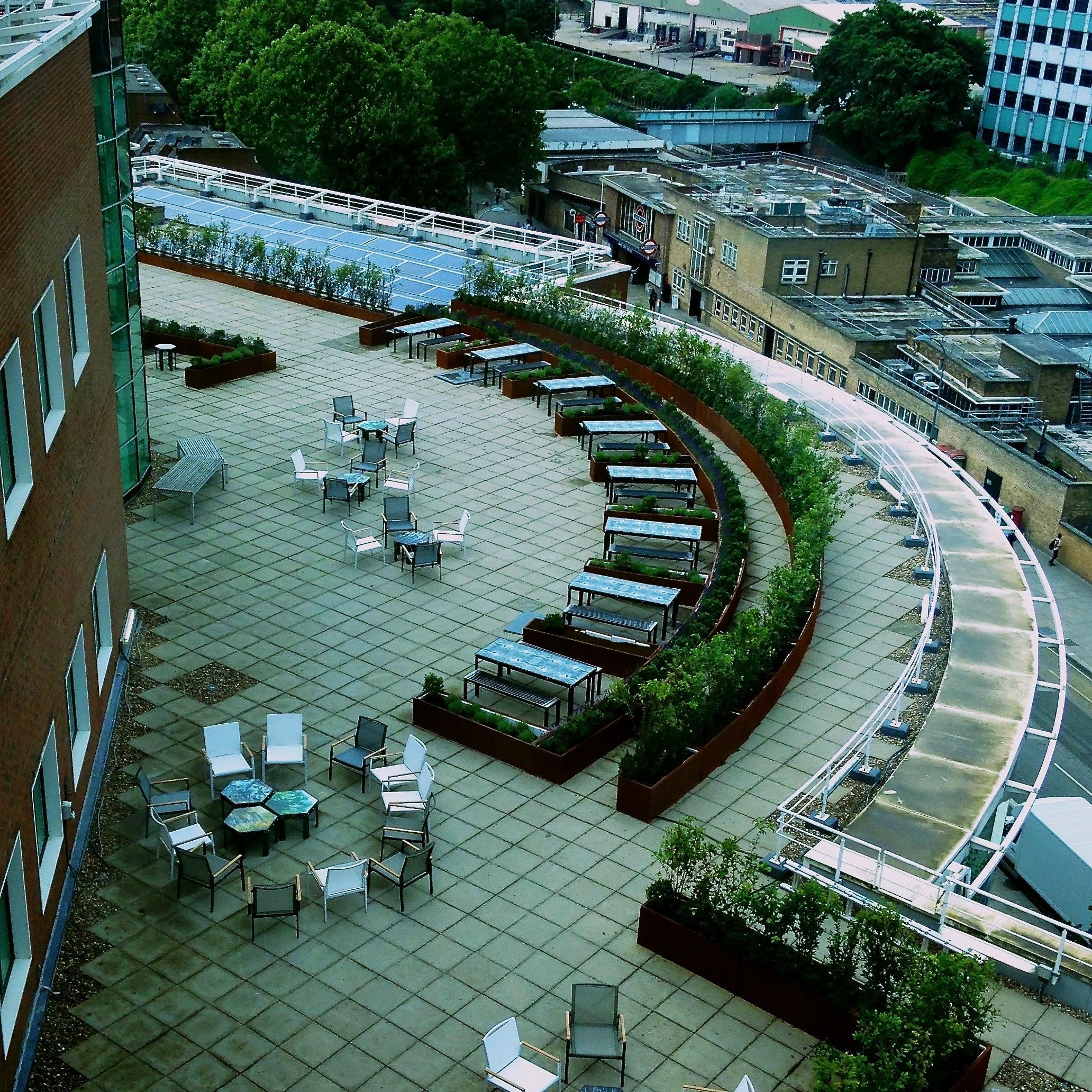 Ariel view of BBC Roof Garden
