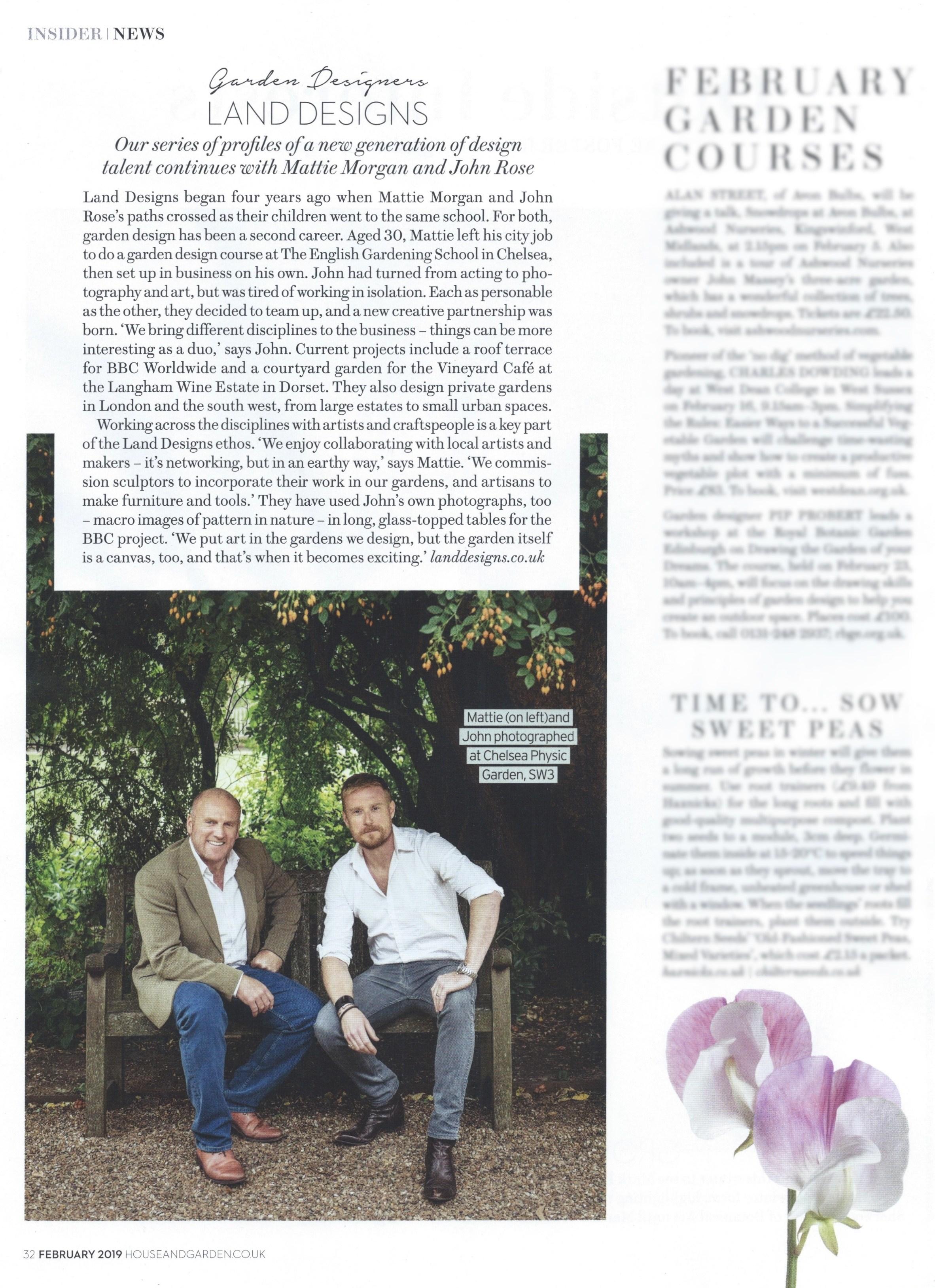 Mattie Morgan & John Rose House & Garden article February 2019