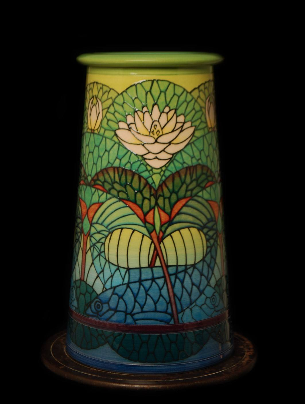 Fish & Waterlily Vase