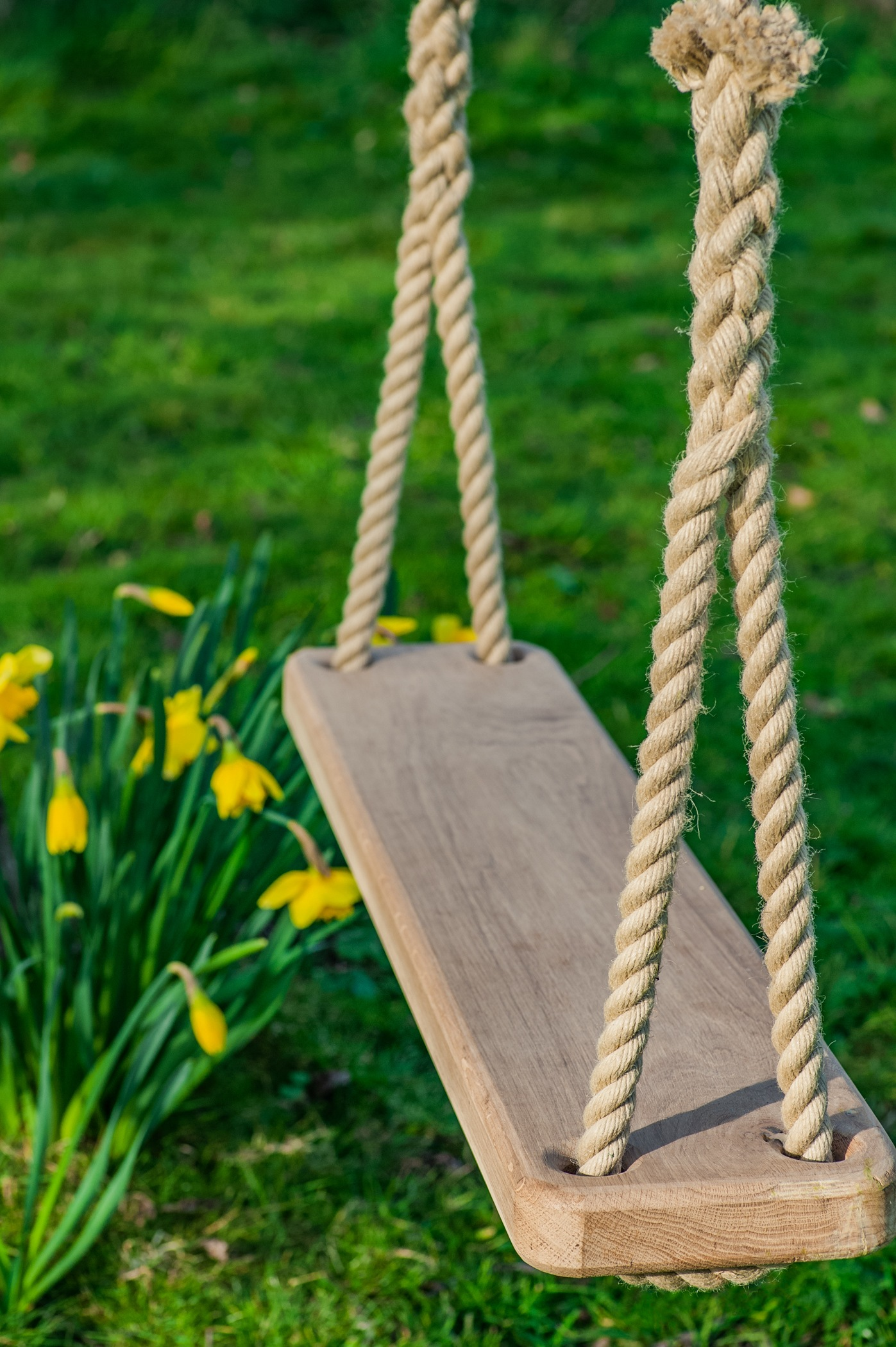 English Oak handmade double tree swing with rope from the chatham dockyard.
