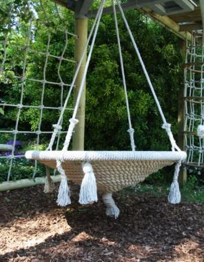large nest swing made from english rope