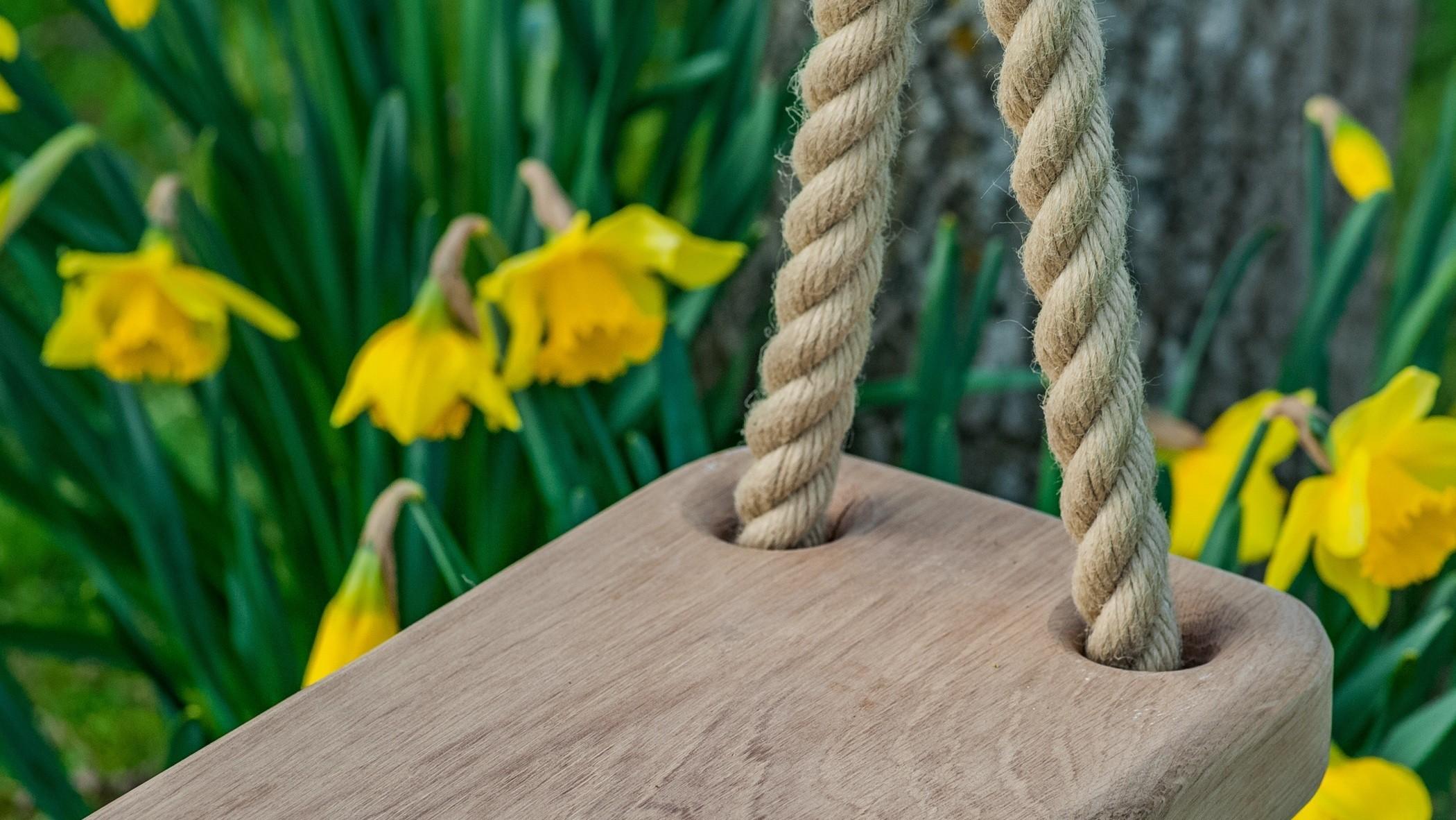 Wooden Oak Tree Swing handmade by JC Gardens