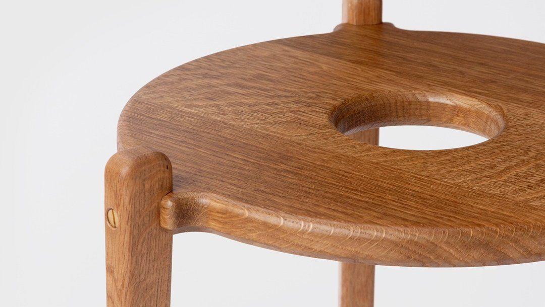 close up of wooden handbag stool