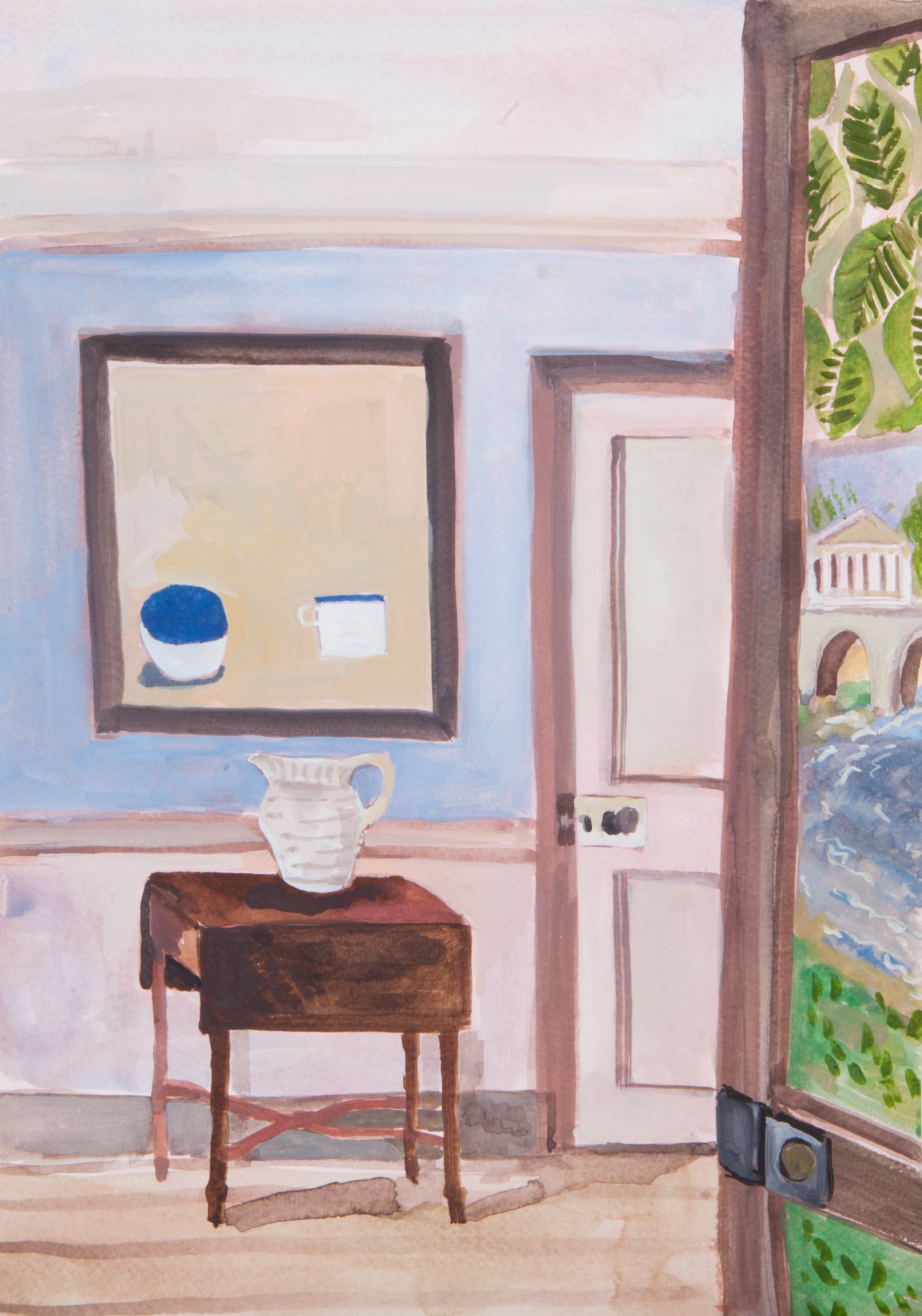 Interior with William Scott and painted door screen - Watercolour.jpg