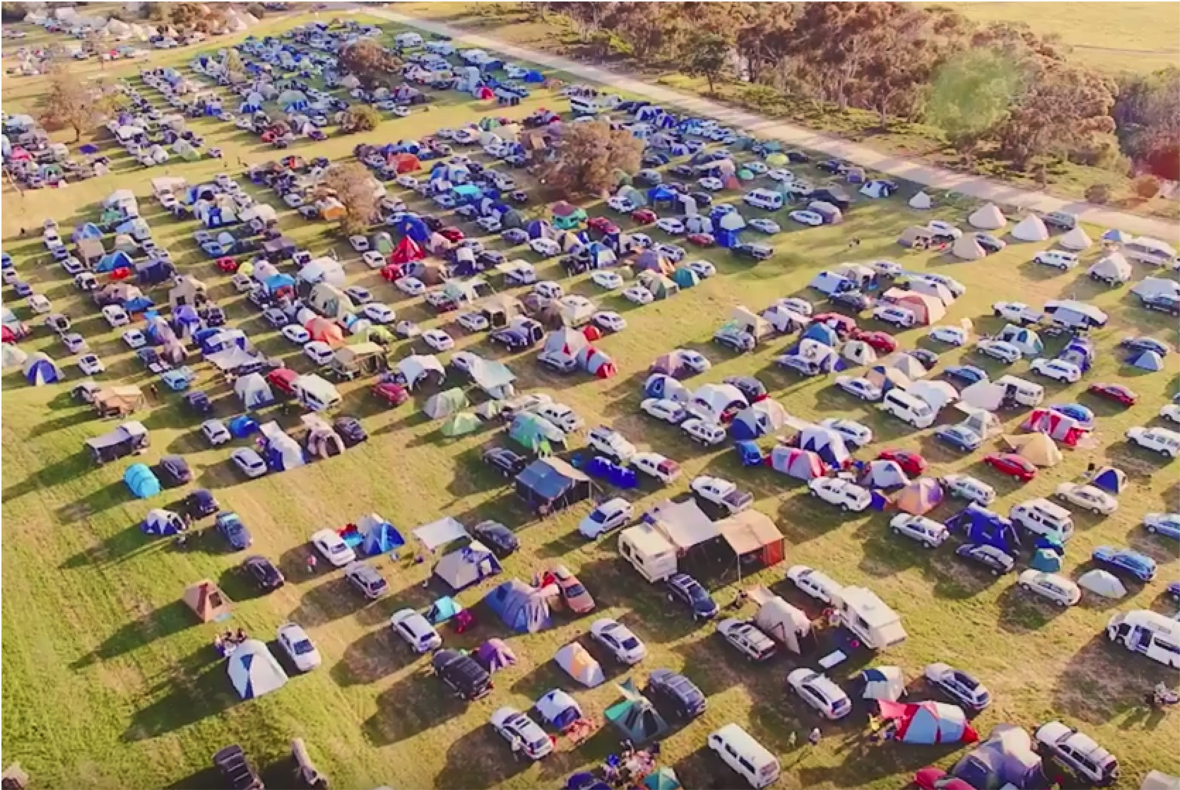 Aerial view of the campgrounds at The Lost Lands 2016