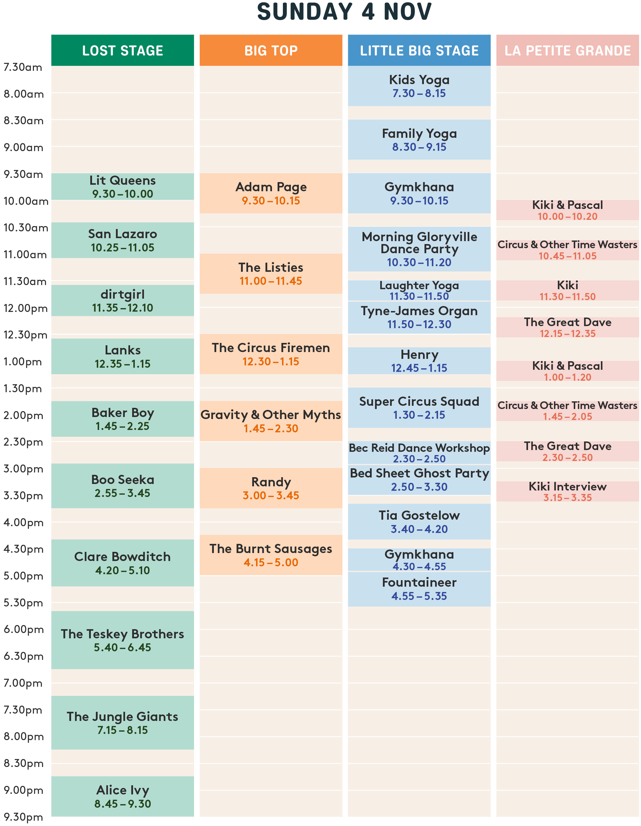 Day 2 Playing Times
