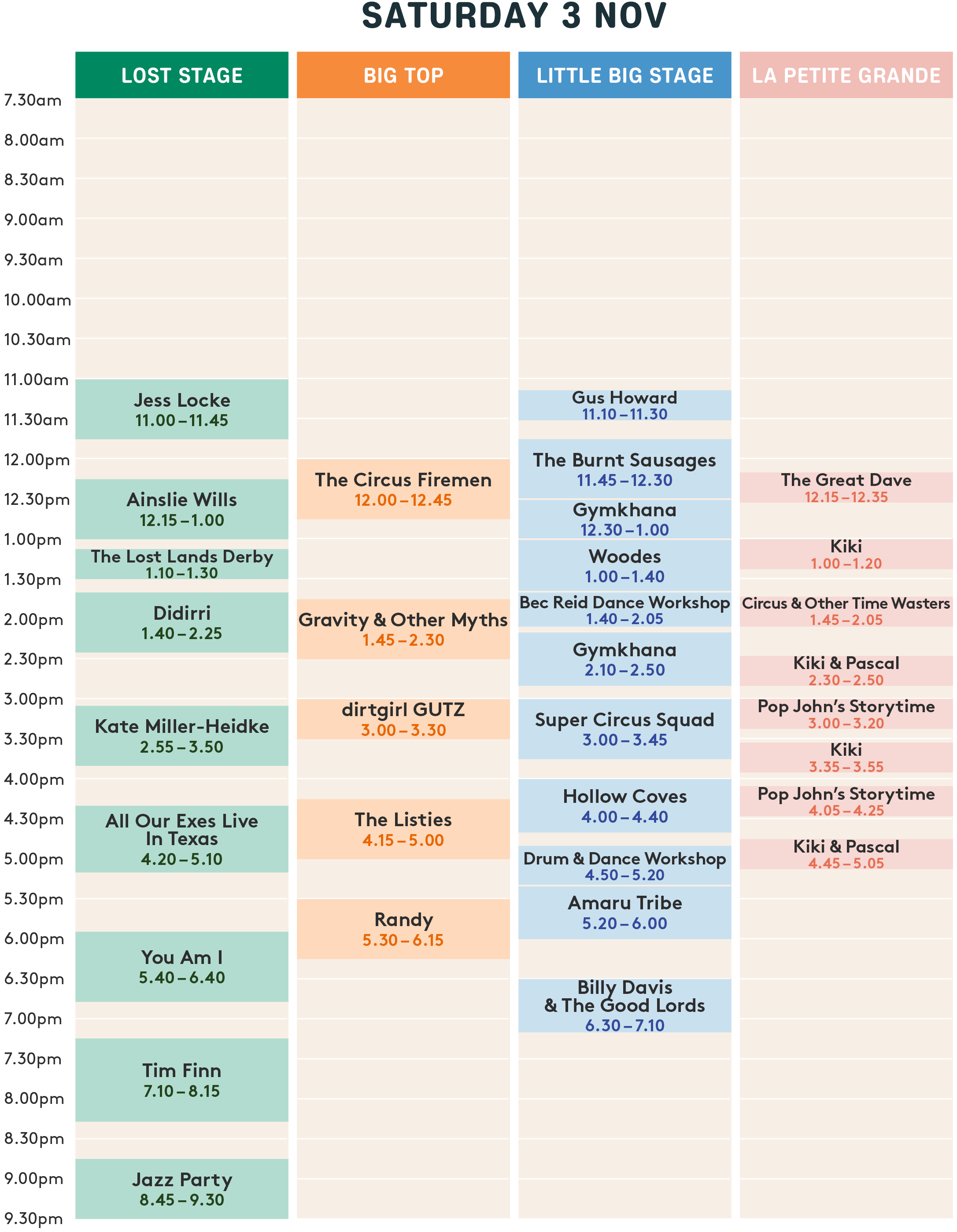 Day 1 Playing Times
