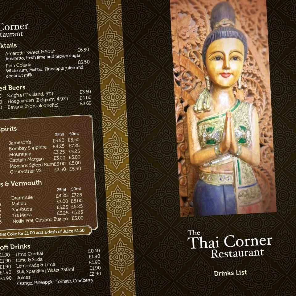 Ceratopia Graphic Design, Thai Corner Drinks Menu