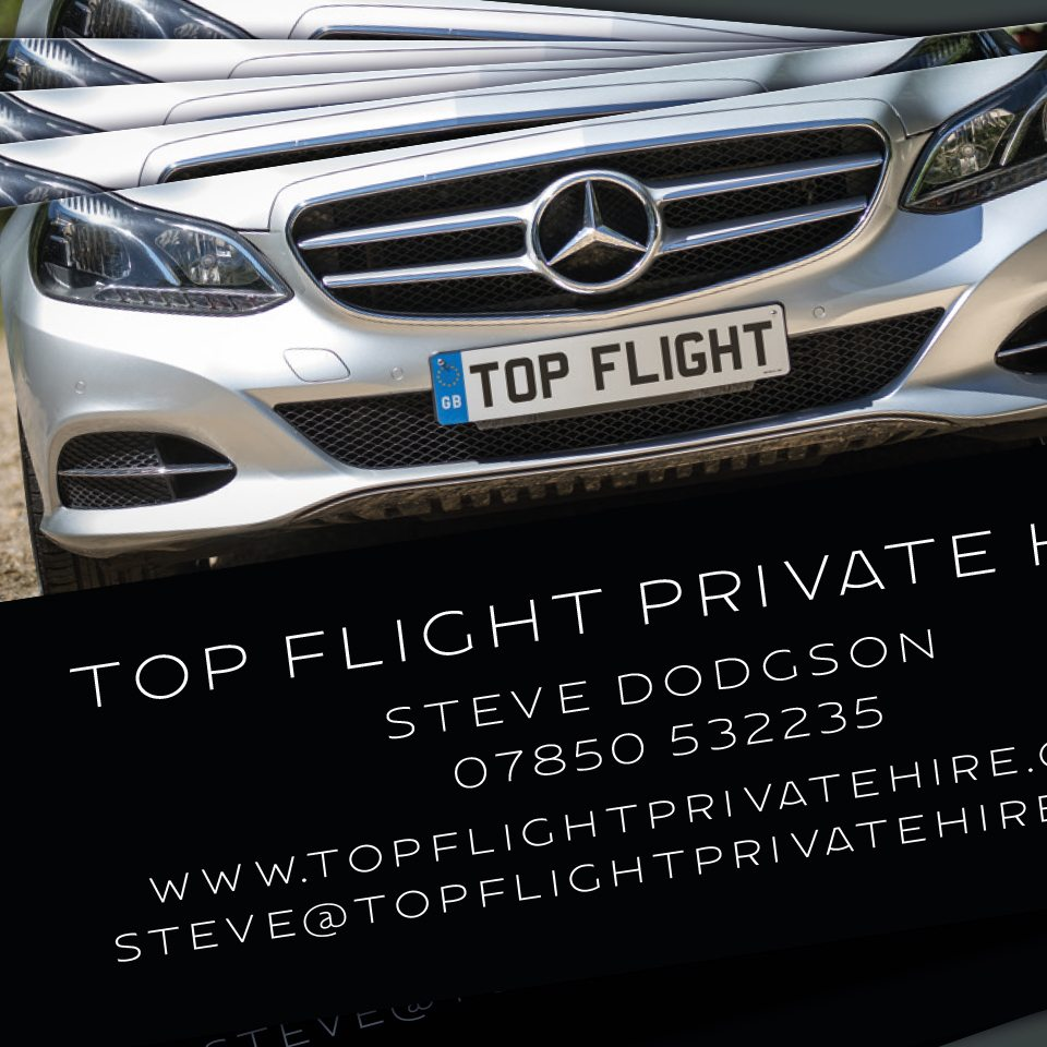 Ceratopia Business Card Design, Top Flight Private Hire