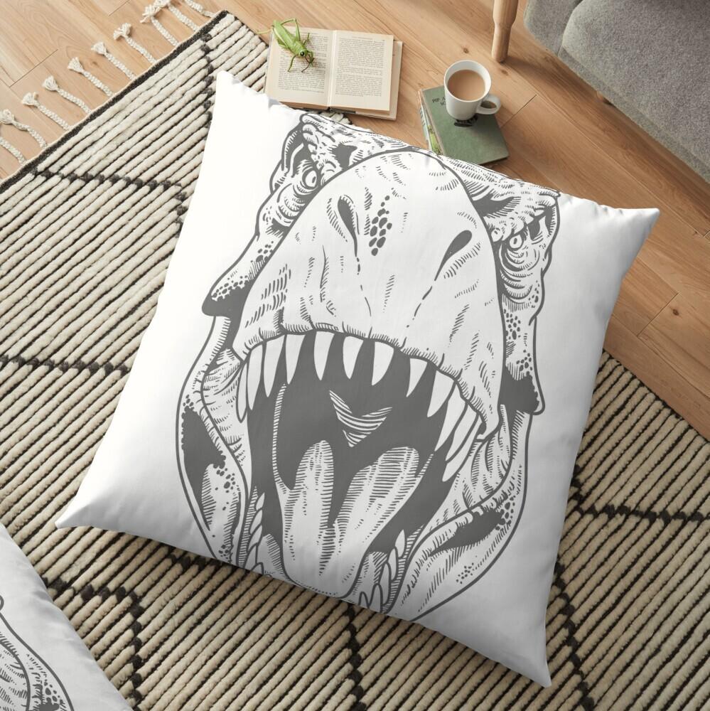 Tyrannosauris head illustration on a product
