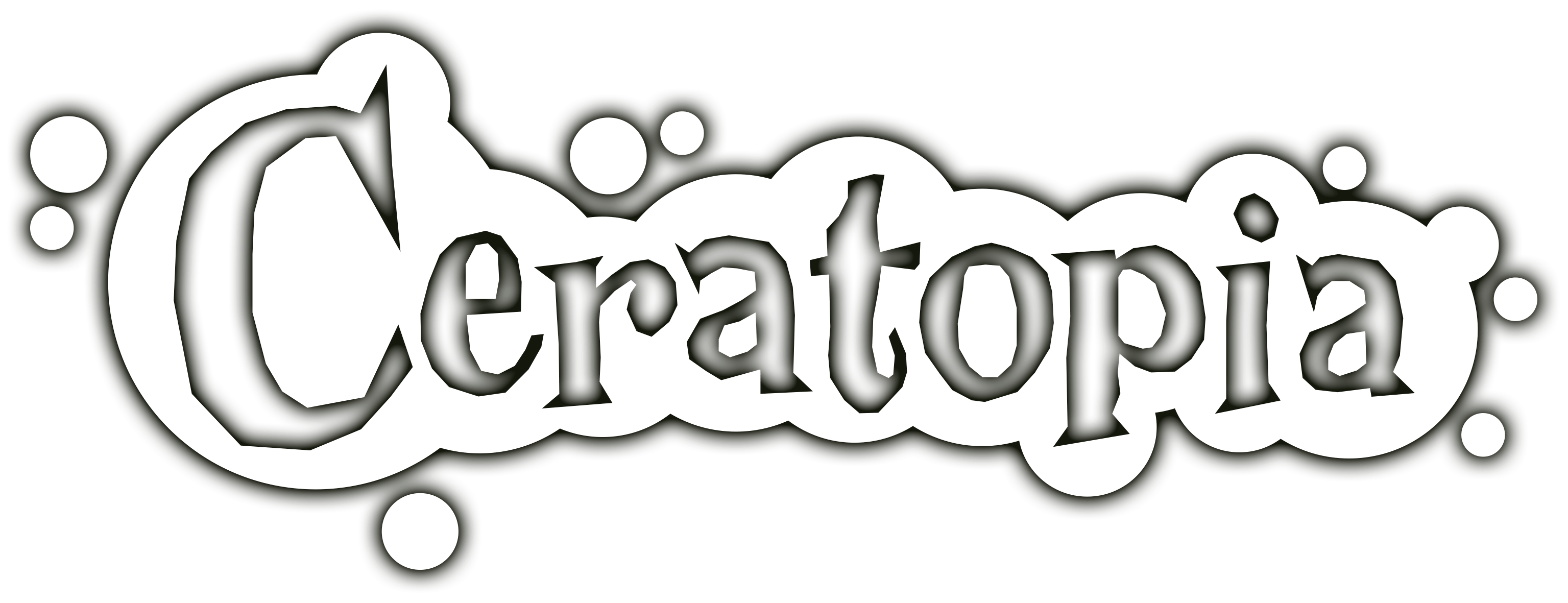 Ceratopia logo in white with shadow