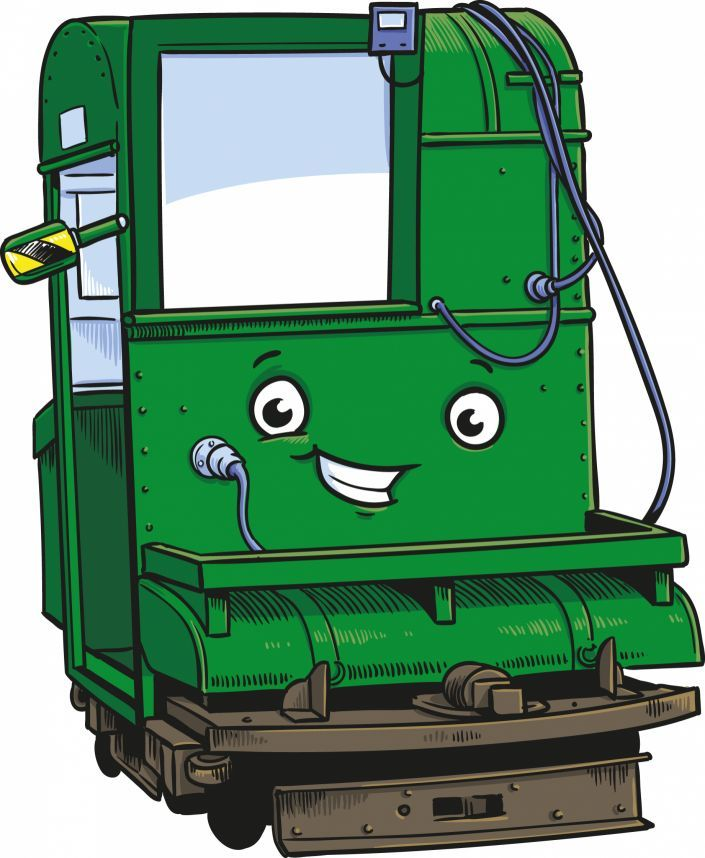 Cartoon of Hythe Pier's train engine.
