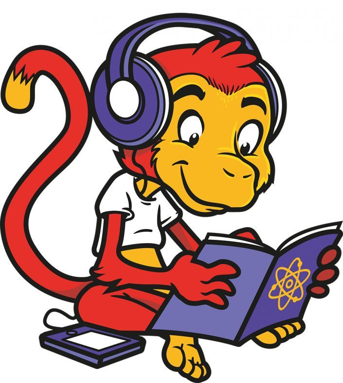 Cartoon monkey for science revision website