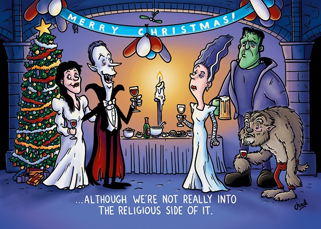 Ceratopia's Christmas cartoon for 2016 featuring vampires.