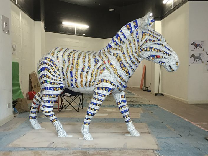 A side view of the completed Zany Zebra