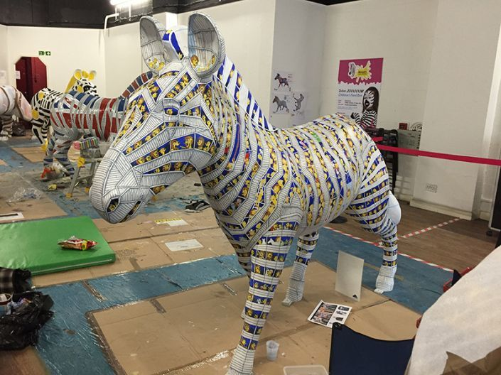 Painting is complete on the Trojan Zebra