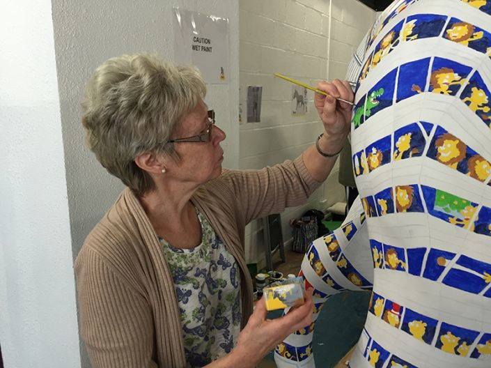 Simon's mum painting the Zany Zebra