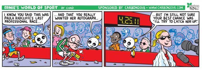 Cartoon strip with Ernie in the London Marathon
