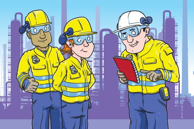 One of the cartoons for a safety booklet for Exxonmobil