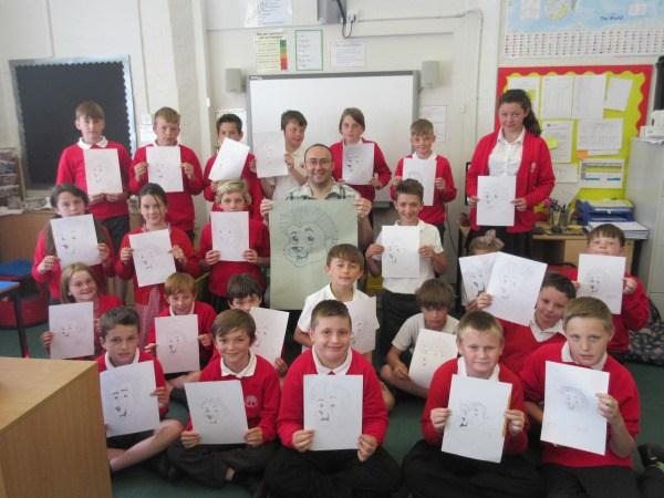 Awbridge Primary children with Simon