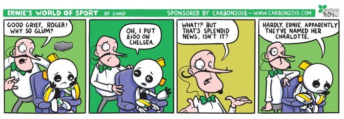 Cartoon strip featuring Ernie, Roger and Chelsea.