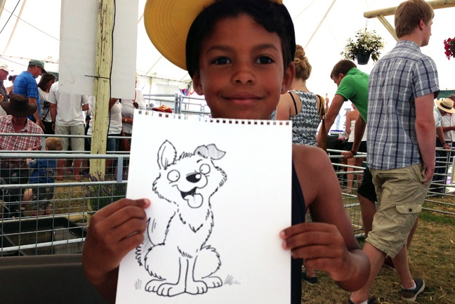 One of Simon's cartoons for visitors to the marquee