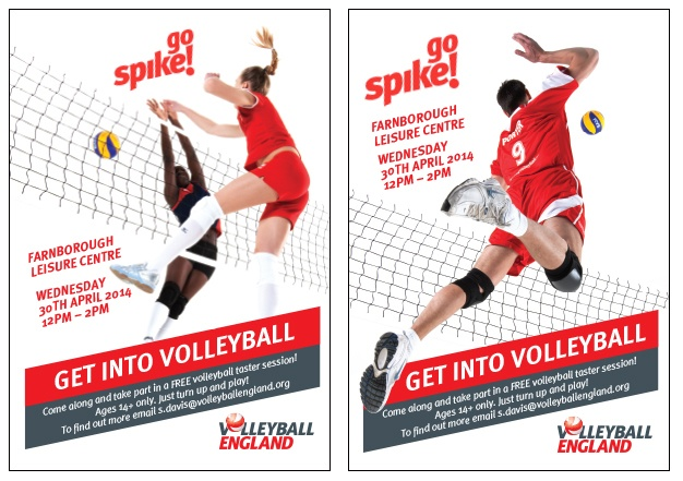 Poster designs for Volleyball England